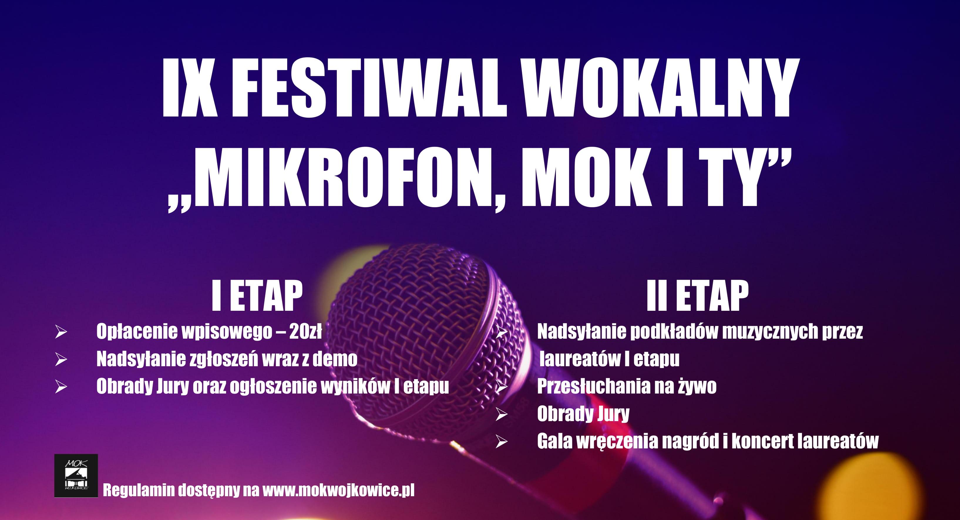"""Plakat do IX Festiwalu Wokalnego """"Mikrofon, MOK i Ty"""" 2020 organizowanego przez Miejski Ośrodek Kultury w Wojkowicach"""