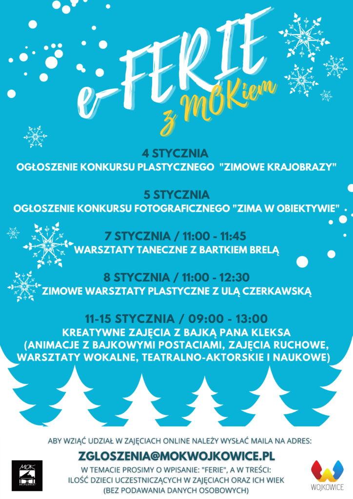 Plakat do akcji e-ferie z MOKiem