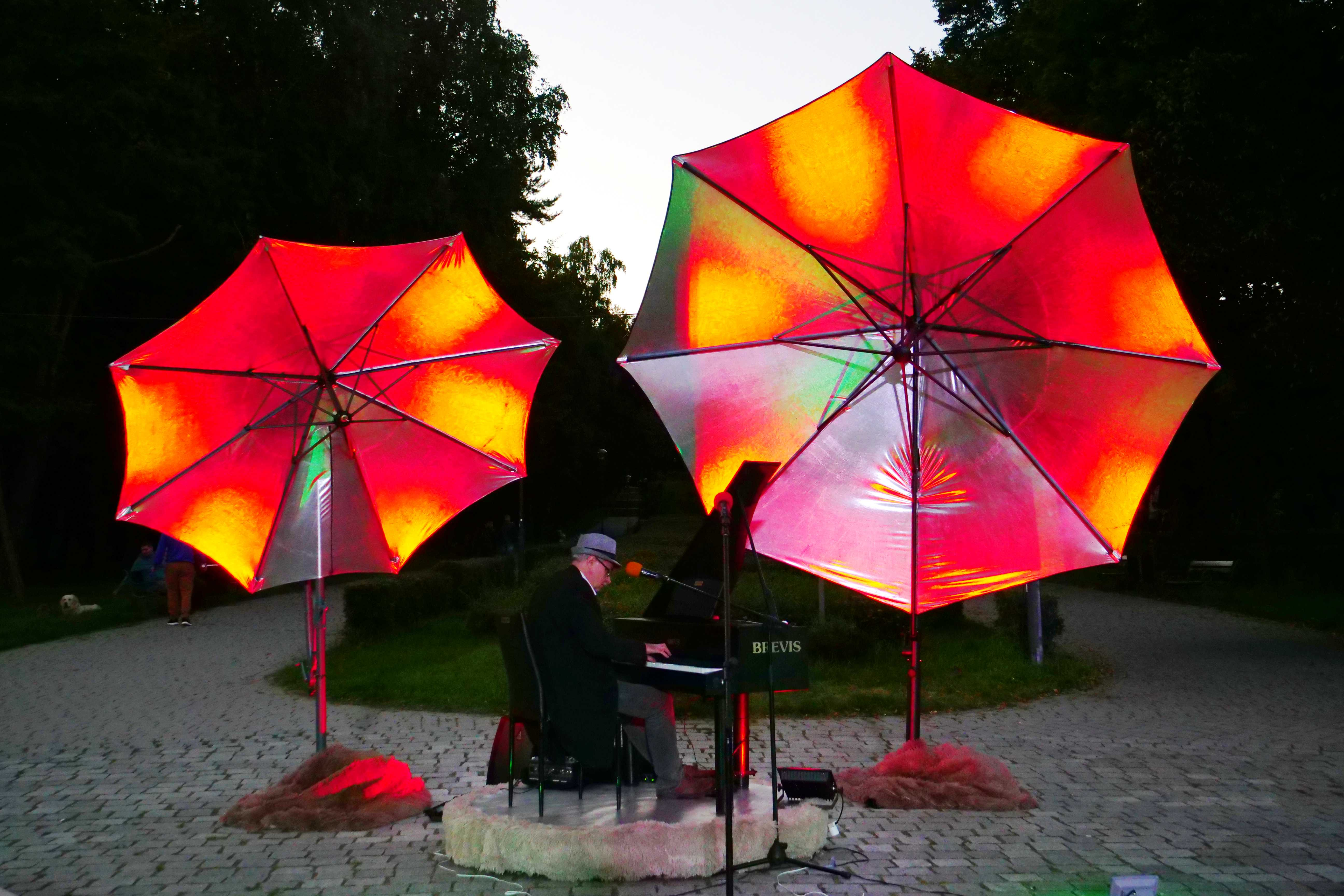 Pianista Leszek Czarnecki podczas Wieczorku Muzycznego w Parku Miejskim, MOK Wojkowice